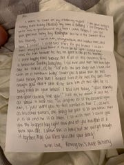 """Abi Bordelon shared this letter from her newborn son's nurse in a public Facebook post. """"Nurse Brittany"""" wrote to the new mom to let her know they were loving on her boy while she couldn't because she was still positive for COVID-19."""