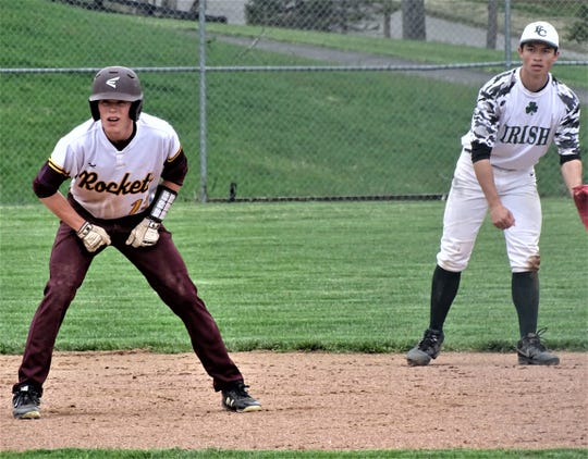 Berne Union's Drew Berstler leads off second base during a 2019 game against rival Fisher Catholic. The Rockets were coming off a 19-5 season and had several key returners to battle the Irish for the Mid-State League-Cardinal Division championship before the season was canceled.