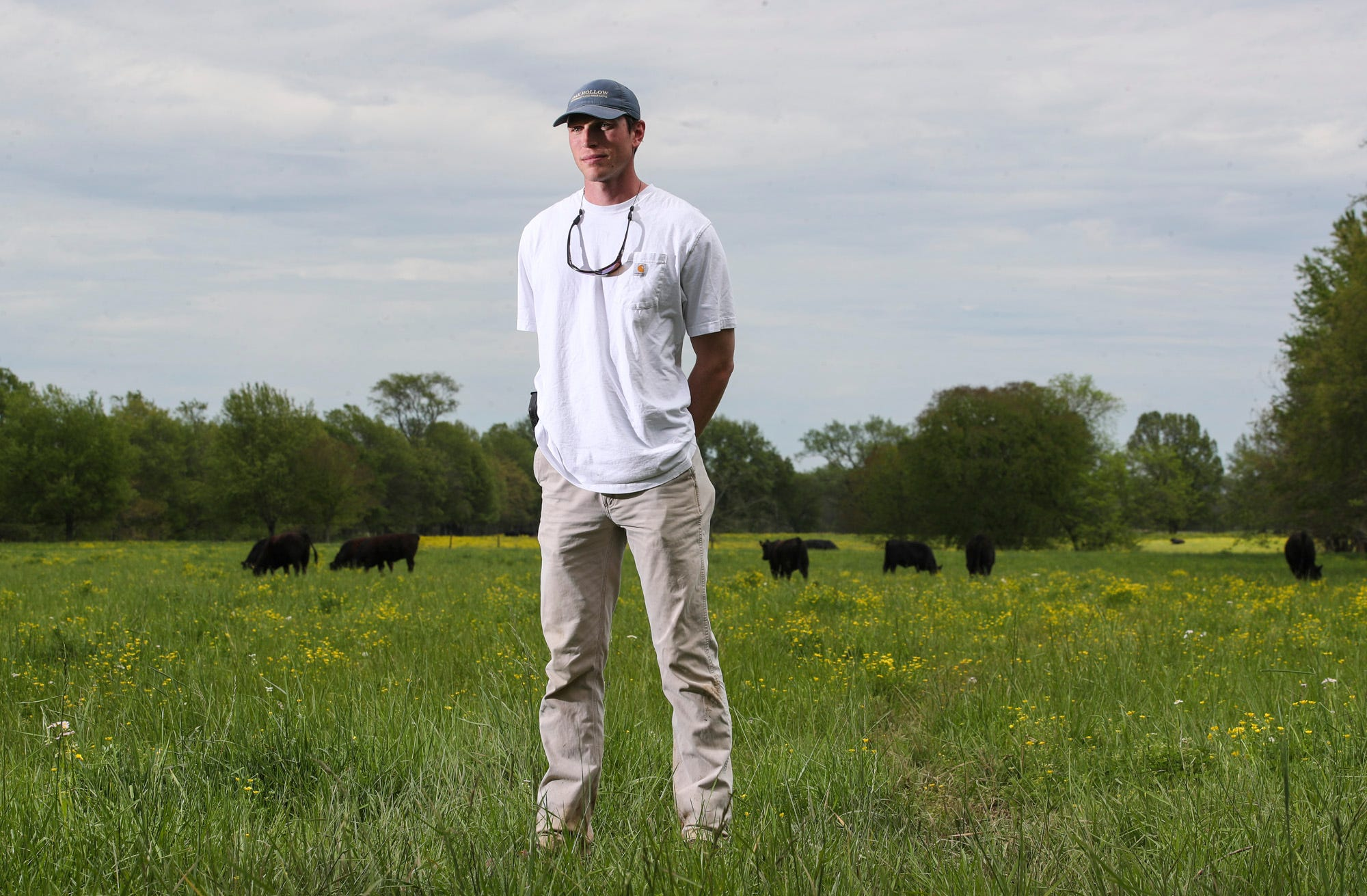 oe Lowe, 29, is a cattle rancher for his family's Oak Hollow Angus in Smiths Grove, Ky.