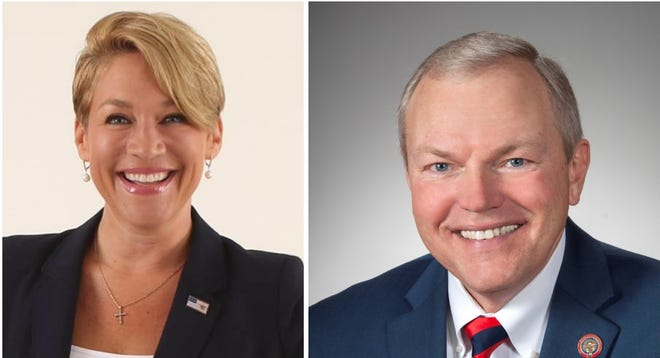 State Rep. Bill Reineke, right, defeated Melissa Ackison, left, in the Republican Party primary election for the 26th Ohio Senate District seat on Tuesday. Reineke collected 62% of the vote. He will face Democrat Craig Swartz in the November general election.