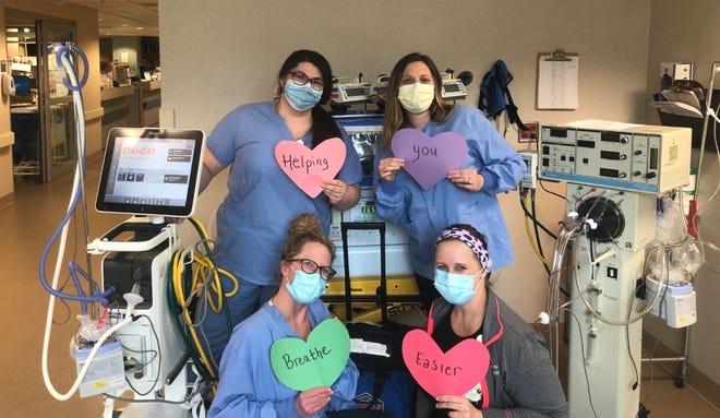 Shanna Schuele's respiratory team at Aurora's Sinai Medical Center, clockwise from top right corner, Shanna Schuele; Patricia Drummer; Sena Czubin; Megan Cunningham.