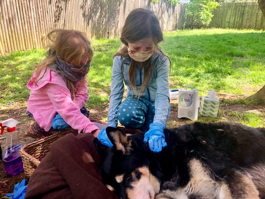 Finley, 6, and Ellie, 10, say goodbye to Riley.