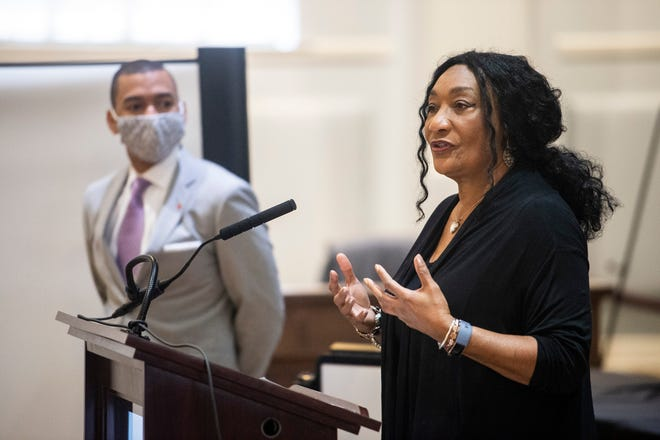 MPS superintendent Ann Roy Moore speaks with Mayor Steven Reed during a press conference at City Hall in Montgomery, Ala., on Wednesday, April 29, 2020.