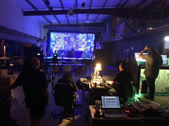 Behind the scenes during the Outside the Inside (OTI) livestream concert at Warehouse231: sound - Bill Young, lighting/video screen - Ben Baumgardner, cameras - Brock Baumgardner/Darryl Spears, production - Troy Mowry/Earl Baumgardner.