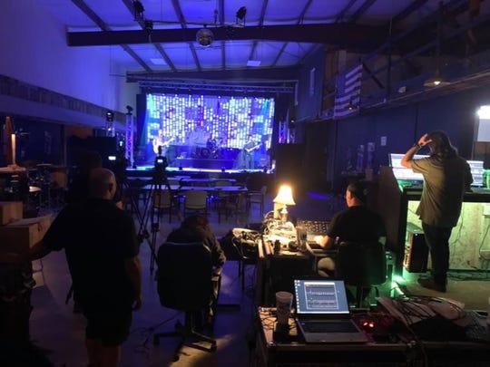 Behind the scenes during the Outside the Inside (OTI) livestream concert at Warehouse231: sound - Bill Young, lighting/video screen - Ben Baumgardner, cameras - Brock Baumgardner/Darryl Spears, production - Troy Mowry/Earl Baumgardner.