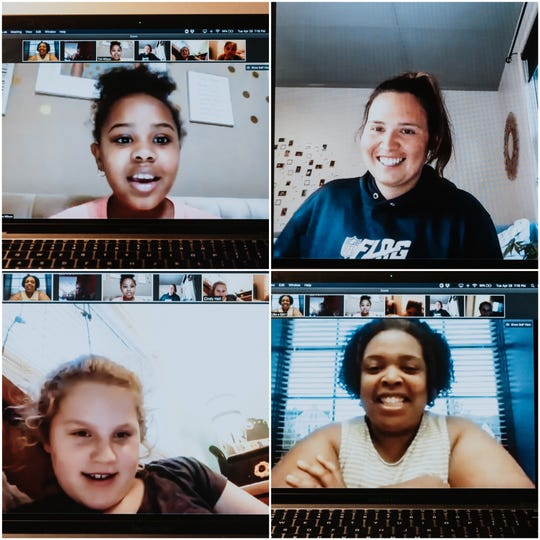 Nashville area students meet virtually April 28 with adult advisers in nonprofit Play Like a Girl for their weekly Girl Talk group. Play Like a Girl – which explores ways for girls to get involved with science and math – has pivoted toward online programming and porch deliveries to stay connected with members during the pandemic. Upper left is Carwyn Wilson, 11, from Reeves Rogers Middle School in Murfreesboro. Upper right is volunteer Hannah Pike. Lower left is Hadley Hall, 11, of H.G. Hill Middle School. Lower right is Kimberly Clay, founder of Play Like a Girl.