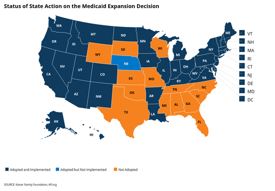 A map showing state-by-state action on Medicaid expansion. Orange indicates states that have not expanded.