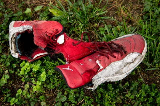 The shoe Jordan Bell was wearing when he was in a motorcycle accident is seen at his home in Antioch, Tenn., Wednesday, April 29, 2020. Bell, a running back for Tennessee State University, is recovering at home after having part of his left leg amputated following the crash.
