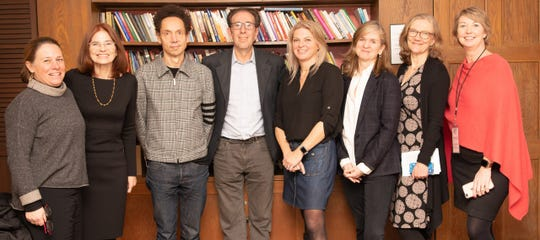 Staff of the Montclair Literary Festival and succeed2gether with Malcolm Gladwell, who spoke at a pre-festival event in February 2020. Festival director Katrina Browning is on the right.