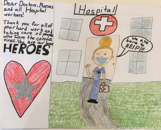 Alexandra Ricci, a second-grader at Haworth Public School, submitted this drawing to the Haworth Public Library for its collection of memorabilia showing life during the coronavirus outbreak.