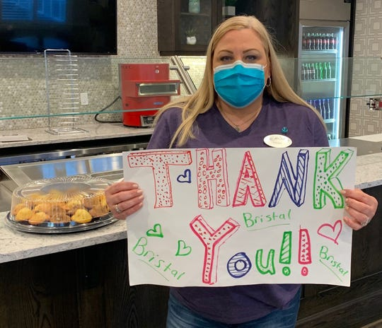Trish Biondo, a concierge at The Bristal, an assisted-living facility in Wayne, was among the staff donated meals by Feed it Forward on April 28.