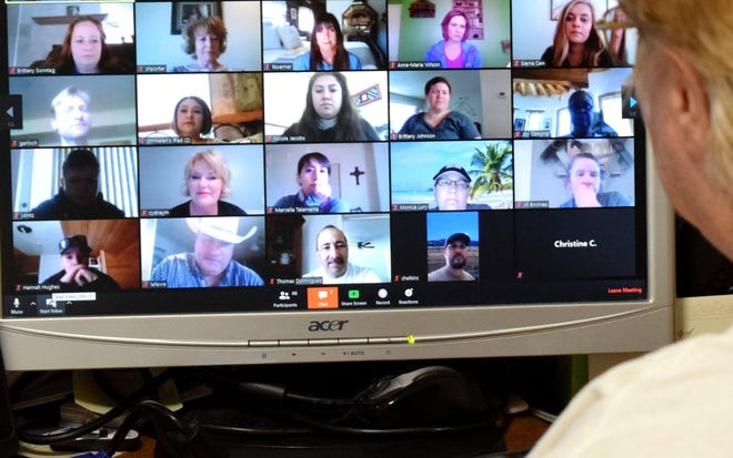 New Mexico State University 4-H Youth Development department is planning to deliver various summer youth programs online. Cooperative Extension Service county agents and 4-H agents meet via Zoom to discuss programs.