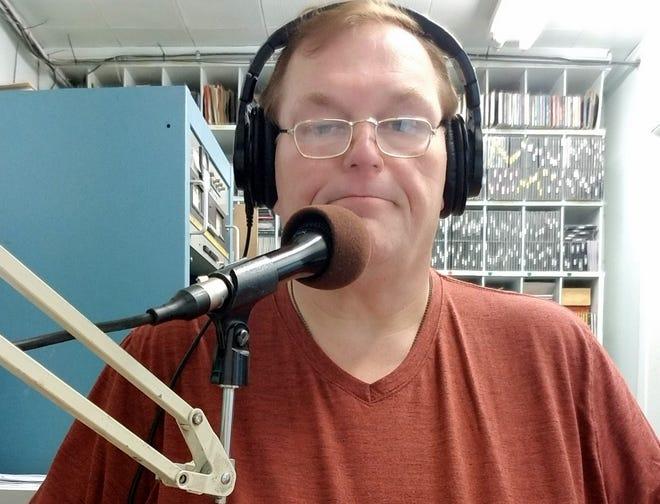 Deming radio DJ John Krehbiel at the mic for KOTS-AM 1230 and KDEM-FM 94.3.