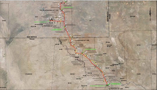 A map of the proposed route of the Double E natural gas pipeline.