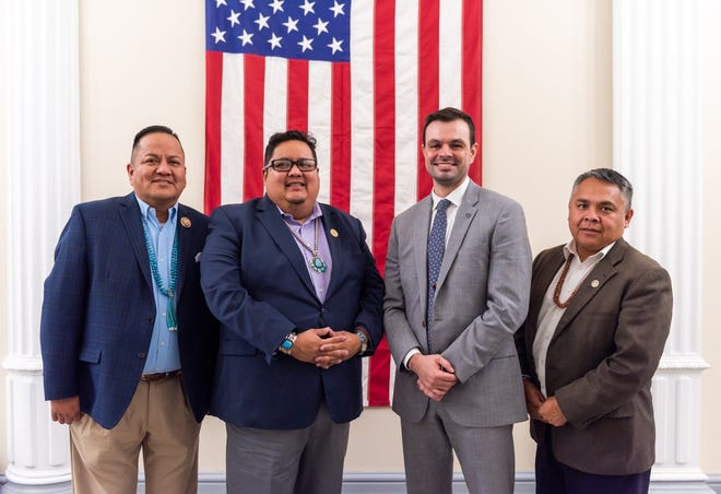 From left, Delegate Mark Freeland, Speaker Seth Damon, Tyler Fish and Delegate Kee Allen Begay Jr. are pictured in January 2020 during a meeting at the White House in Washington, D.C. Fish was selected to head the re-established White House Council on Native American Affairs.