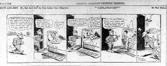 Nov. 1918: This five-panel cartoon appeared on Page 10 of the Nov. 1, 1918, edition of The Arizona Gazette, as stories about the flu pandemic appeared on the news pages.