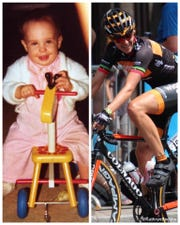 Kathryn Bertine, left, in 1977 on her first tricycle and in 2014 at La Course by Tour de France. The Tucson cyclist grew up in the house now owned by NFL commissioner Roger Goodell, where he conducted the recent NFL draft.