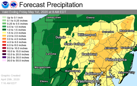 A flood watch has been issued for central Pennsylvania as heavy rainfall is expected on Thursday.