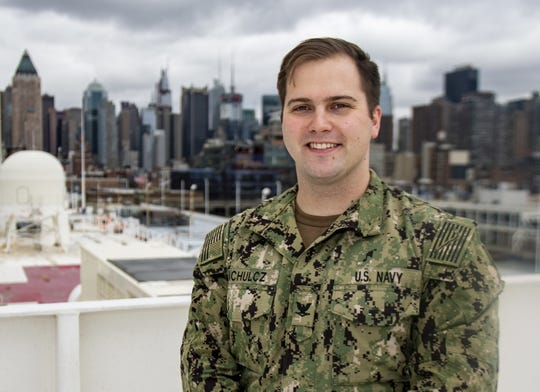 Hospital Corpsman 3rd Class Jacob Machulcz is a surgical technologist on the USNS Comfort, which has been docked in New York City to help with coronavirus patients. The ship is expected to depart this week.