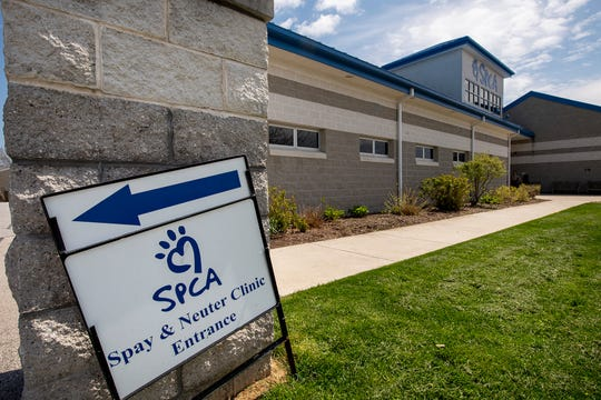 A sign for the low-cost Spay & Neuter Clinic has been put to the side of the front entrance as it has been closed due to the governmental order for non-essential businesses to close. The York County SPCA clinic performed 9,000 procedures in 2019 and has been closed for 10 weeks.