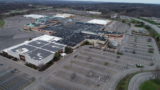 Eastview Mall in Victor and its surrounding parking lots are almost completely empty April 28, 2020.  The mall has been shut down since March 18 after New York State Governor Andrew Cuomo mandated the closure of nonessential businesses to stop the spread of  COVID-19.
