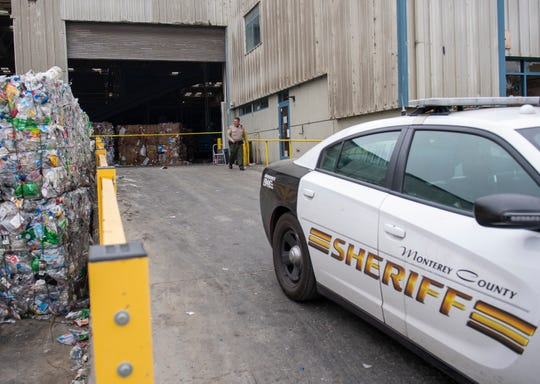 Monterey County deputy sheriff walks around the scene where the body of an infant was found at the Regional Waste Management District on Tuesday afternoon. These photographs were taken early morning on Wednesday, April 29, 2020.