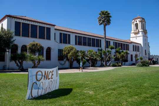 Several Salinas High School teachers put up signs around Salinas High's grass area to spread encouragement to seniors who will not be able to have a graduation ceremony. This photo was taken on Tuesday, April 28, 2020.