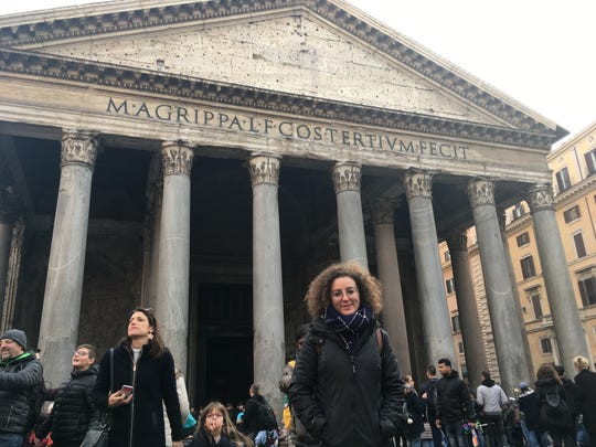 Francesca Falasca, an international student at Salisbury University, poses for a picture outside the Pantheon monument in Rome in December.