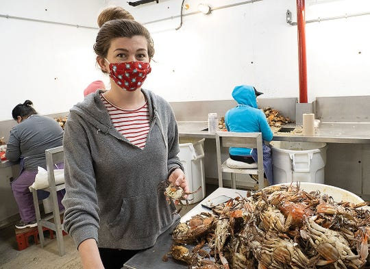 Aubrey Vincent of Lindy's Seafood in Wolford, Maryland, is waiting for her temporary visa workers but is currently using a small contingent of local employees to pick crabmeat.