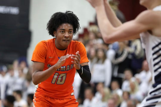 Bishop Gorman's Zaon Collins #10 in action against La Lumiere at the Geico High School Basketball Nationals in the Queens borough of New York on April 4, 2019.
