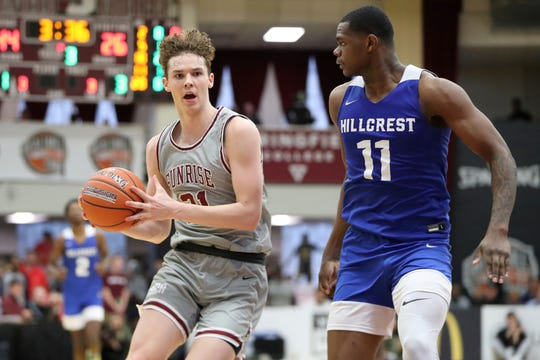 Sunrise Christian Academy's Zach Clemence #21 in action against Hillcrest Prep at the Hoophall Classic on Jan. 19, 2020, in Springfield, MA.