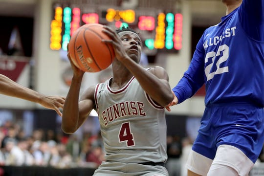 Sunrise Christian Academy's Willie Lightfoot #4 in action against Hillcrest Prep during a high school basketball game at the Hoophall Classic on Jan. 19 in Springfield, MA.