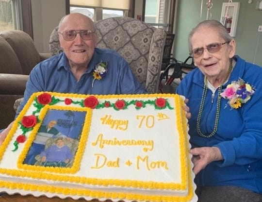 Carol and Hobbie Schleicher celebrate their 70th anniversary Saturday, April 18, 2020, at Serenity Place on Seventh in St. Joseph.