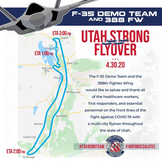 The U.S. AIr Force in Utah is planning a flyover the afternoon of Thursday, April 30.