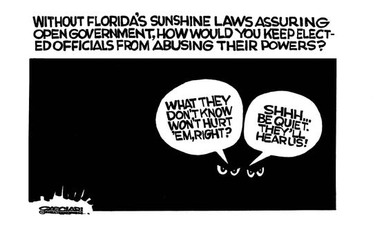 Editorial cartoon (March 22, 2006):  Without Florida's sunshine laws assuring open government, how would you keep elected officials from abusing their powers?