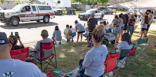 Welcome home parade for Mateo Martinez, 3, on Wednesday, April 29, 2020. The boy nearly drowned last week in a backyard pool but is expected to make a full recovery thanks to CPR given by his father and a neighbor. About 100 vehicles made the trip in front of the home.