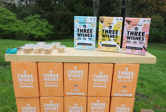 """The Three Wishes cereal was created by Ian and Margaret Wishingrad of Scarsdale. Over the weekend, they passed out samples in their """"drive-thru"""" U shaped driveway."""