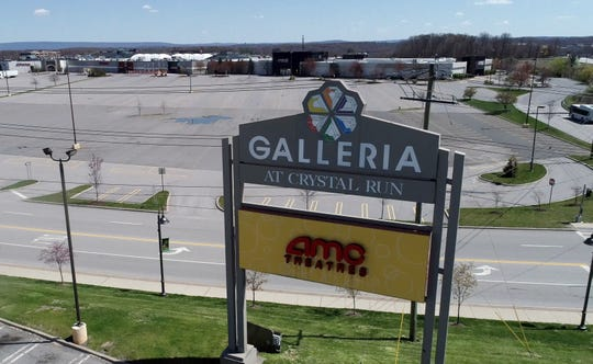 Empty parking lot at the Galleria at Crystal Run mall in Middletown April 28, 2020.