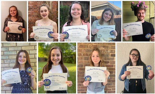 Nine Rider High School students were named Texas Music Scholars.  Top row, left to right, Trinity Anderson, Isabella Campbell, Amberly Schell, Samantha Smith, Aaron Hawkins Bottom row ,left to right, Maranda Rose-Adame, Emilly Spicer, Jenny Claus, and Cassie Coons