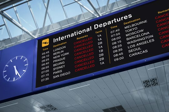 Many flights were canceled as the coronavirus raced around the world.