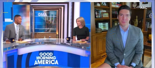 ABC correspondant Will Reeve appeared on 'Good Morning America' wearing shorts on Tuesday morning. Due to stay-at-home measures, Reeve was reporting live from his home.
