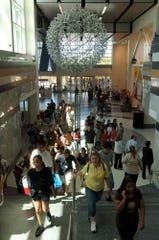 Visitors heading up the stairs into the Liberty Science Center in this file photo.