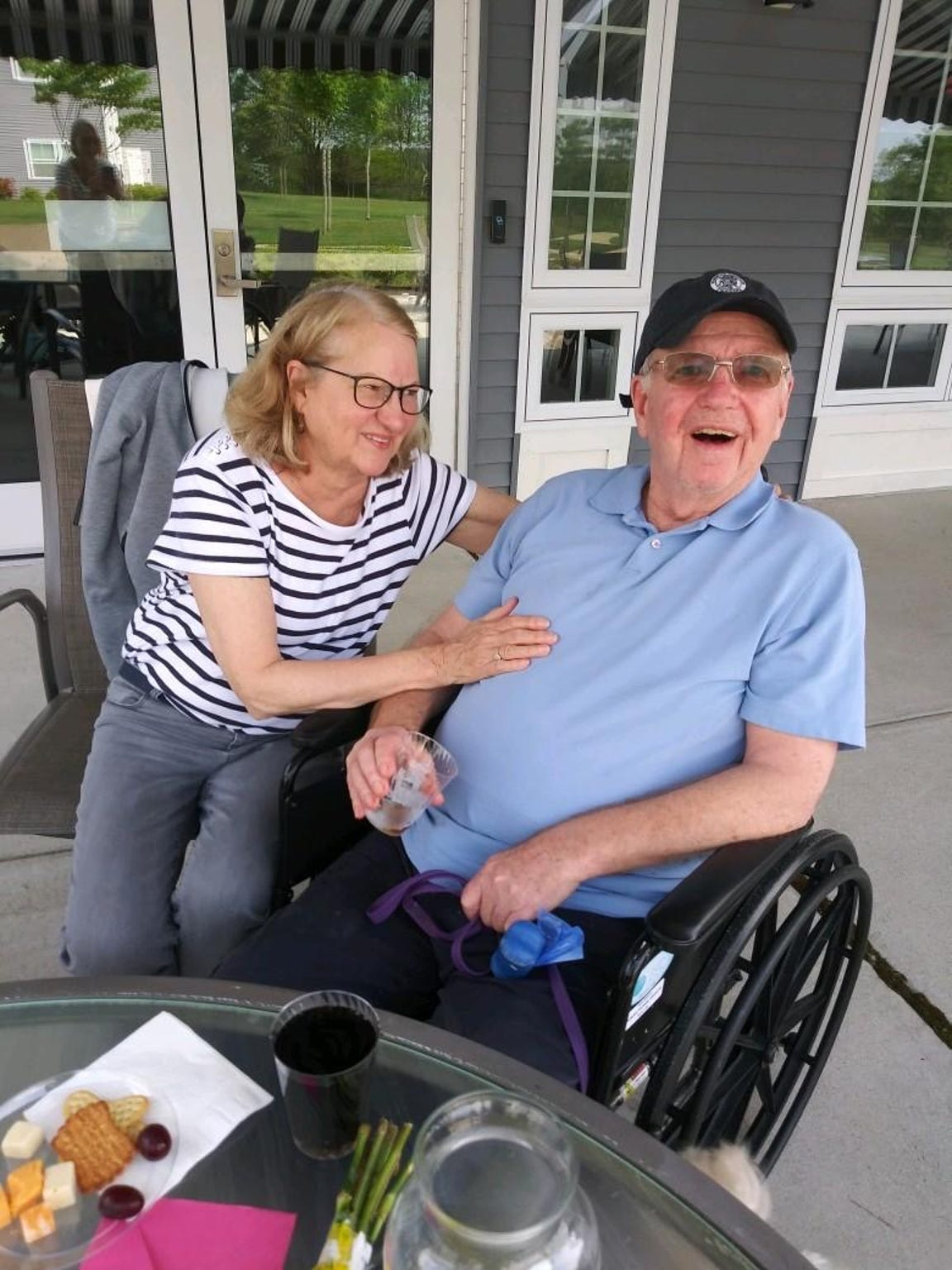Kathleen Farrell-Willoughby and her husband, Henry, are shown last summer. Henry, who has Alzheimer's disease, lives in a long-term care facility in Monmouth County. So far, the facility has been free of COVID-19 cases.