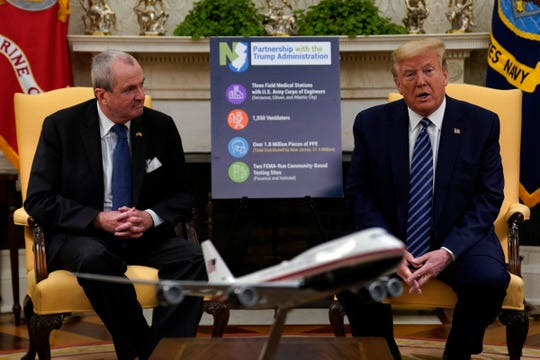 President Donald Trump speaks during a meeting about the coronavirus response with Gov. Phil Murphy, D-N.J., in the Oval Office of the White House, Thursday, April 30, 2020, in Washington. (AP Photo/Evan Vucci)