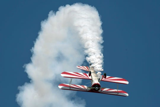 Pilot Gary Rower performs in Battle Creek in 2019.