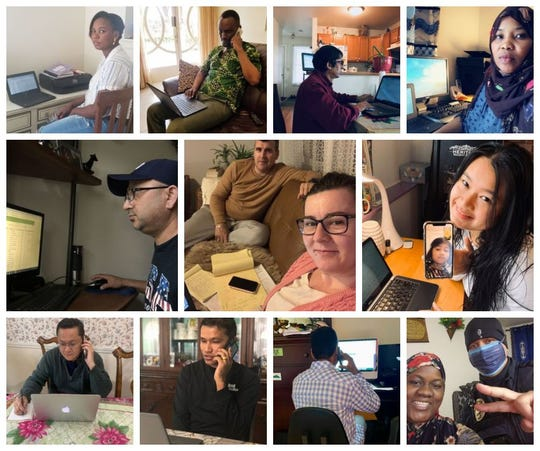 A collage of multicultural liaisons at the Burlington School District  teaching remotely from home as they serve as many as 550 English Learning students connected during the pandemic.