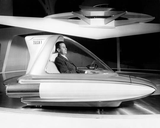 Gale Halderman spends time in the 1959 Ford Levacar concept vehicle. The Ford designer died April 29, 2020 at age 87.