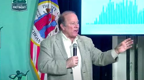 Detroit Mayor Mike Duggan speaks at a press conference about the city's response to the coronavirus on Thursday, April 30, 2020.