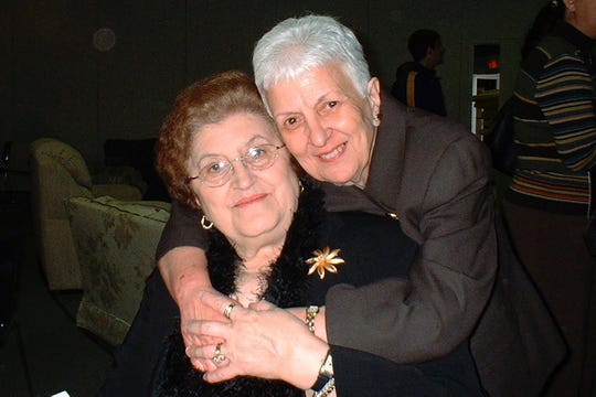 Lifelong friends Jessie Ancona, left, and Mary Hackett, both 91, who died just days from each other from COVID19. This photo is from Mary's birthday party on February 6, 2005.