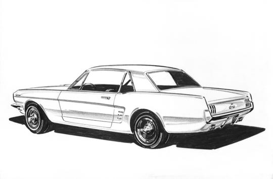 With no one entirely satisfied with the proposals that had emerged so far, a new design competition was held in September 1962. Each of the Ford, Lincoln and Mercury studios put together sketches and clay models for the final evaluation. Gale Halderman in Joe Oros' Ford studio did several sketches in this period from which Oros and his executive designer selected this one.